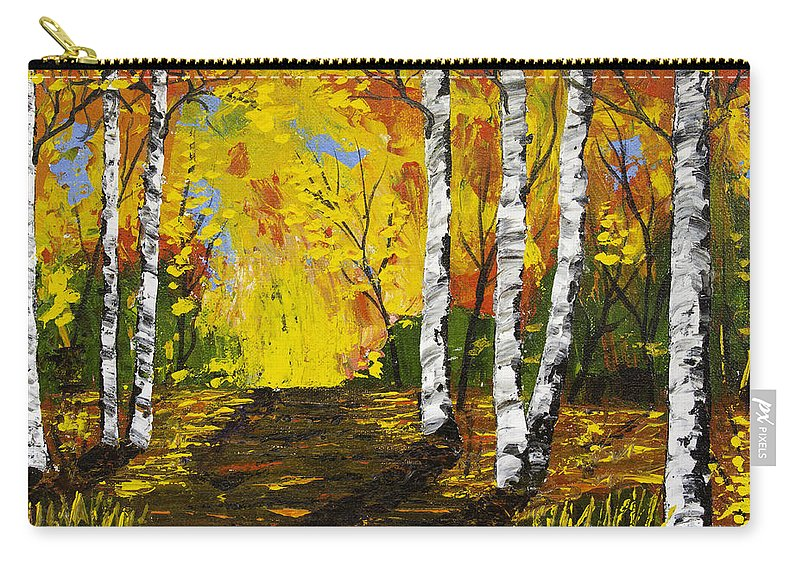 Birch Trees Carry-all Pouch featuring the painting Birch Trees And Road Fall Painting by Keith Webber Jr
