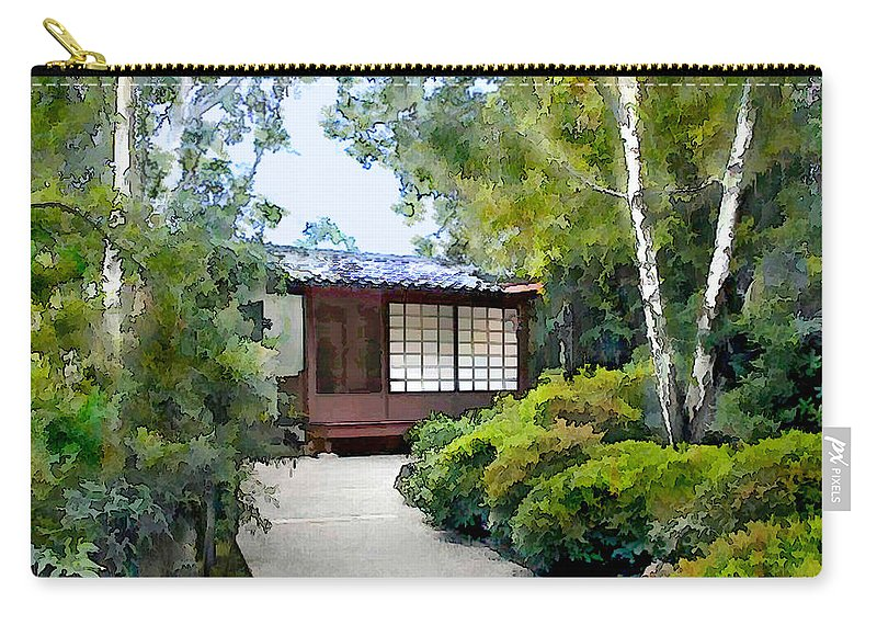 Japanese Garden Carry-all Pouch featuring the painting Birch Trees At The Teahouse by Elaine Plesser