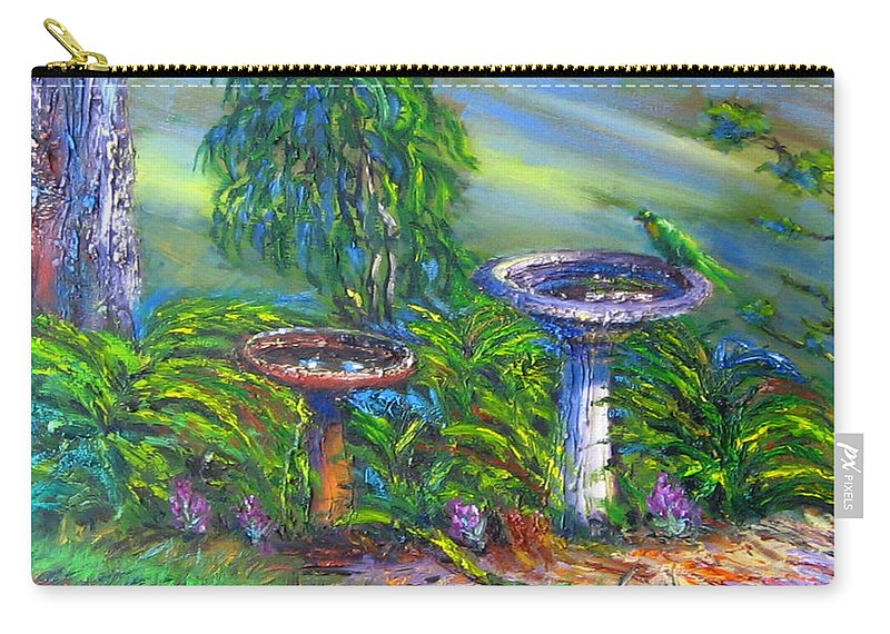 Bird Baths Carry-all Pouch featuring the painting Bird Baths by Diane Quee