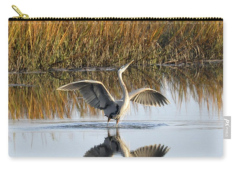 Great Blue Heron Carry-all Pouch featuring the photograph Bird Dance by Kay Lovingood