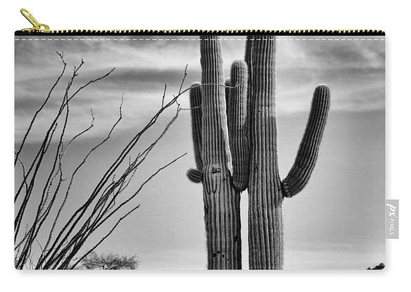 Saguaros Carry-all Pouch featuring the photograph Black And White Couple by Kelley King