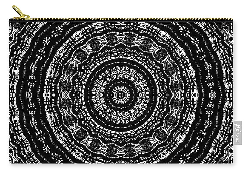 Digital Carry-all Pouch featuring the digital art Black And White Mandala No. 3 by Joy McKenzie