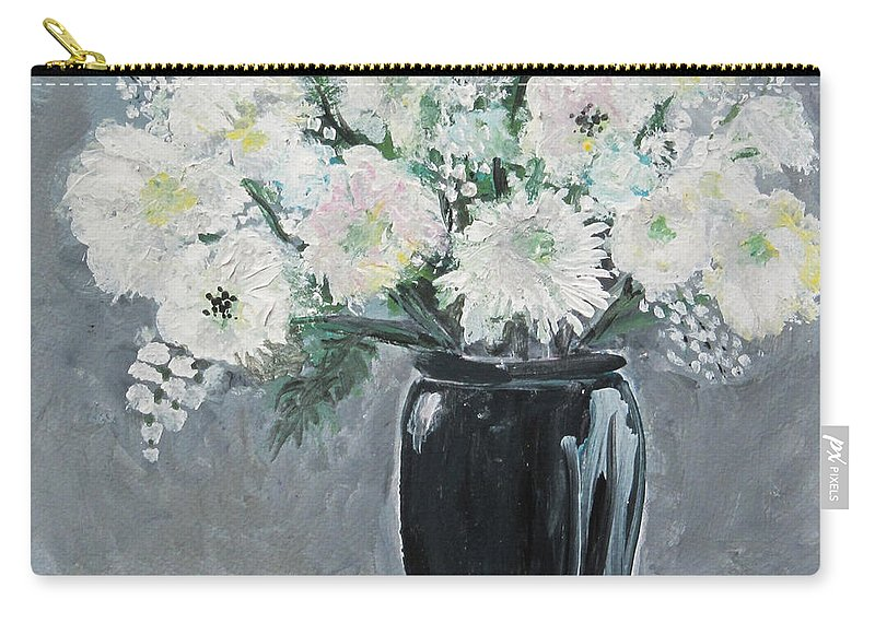 Floral Carry-all Pouch featuring the painting Black And White by Marilyn Woods