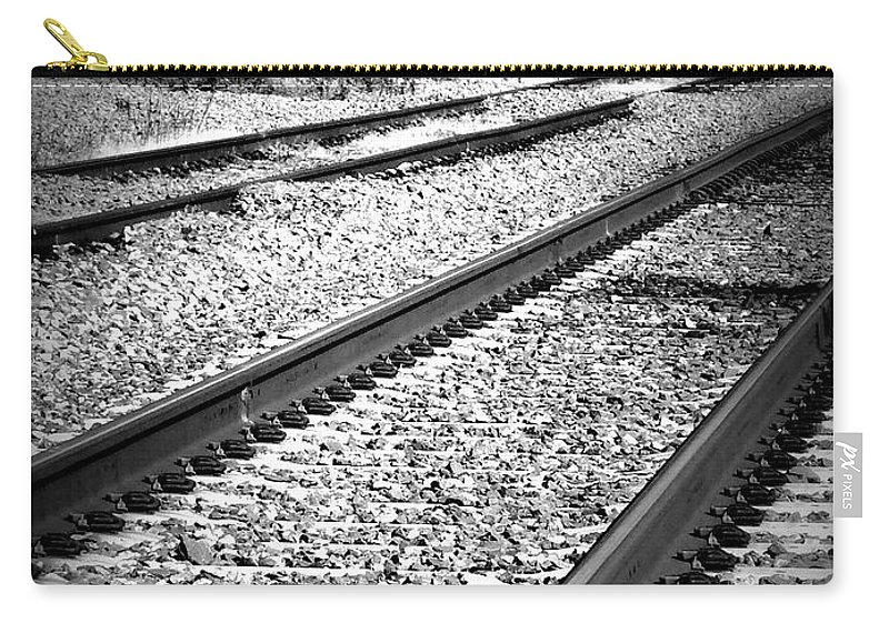 Railroad Carry-all Pouch featuring the photograph Black And White Railroad Tracks by Kimberly Perry