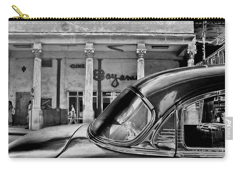 Cuba Carry-all Pouch featuring the photograph Black Car Havana by Andrew Fare