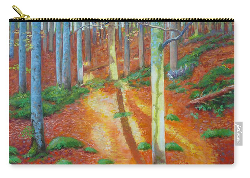 Forest Carry-all Pouch featuring the painting Black Forest Sunset by Dai Wynn