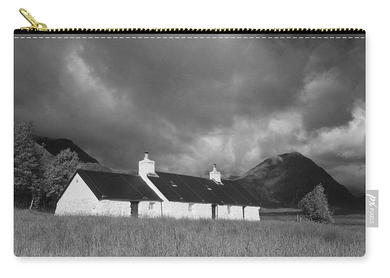 Monochrome Carry-all Pouch featuring the photograph Black Rock Cottage And Buachaille Etive Mor by Howard Kennedy