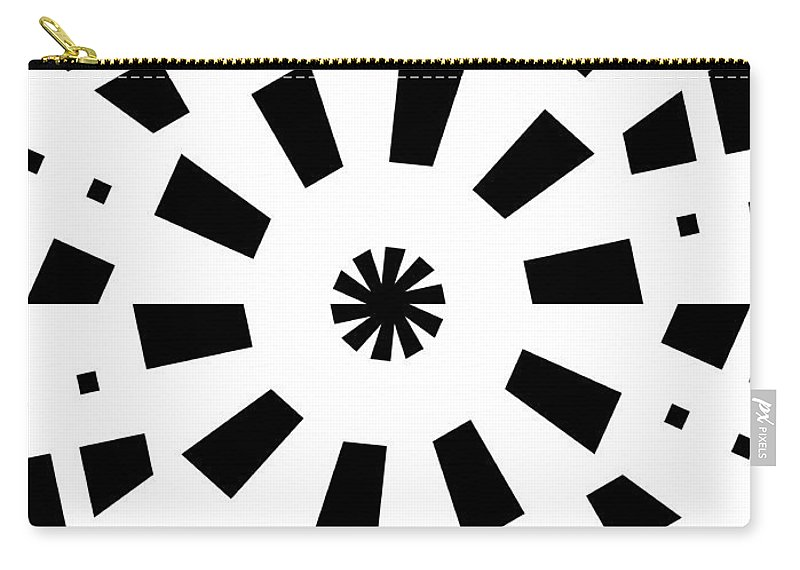 Form Forms Black White Triangle Geometric Abstract Art Minimalism Spiral Digital Painting Circle Carry-all Pouch featuring the digital art Black Spirale by Steve K