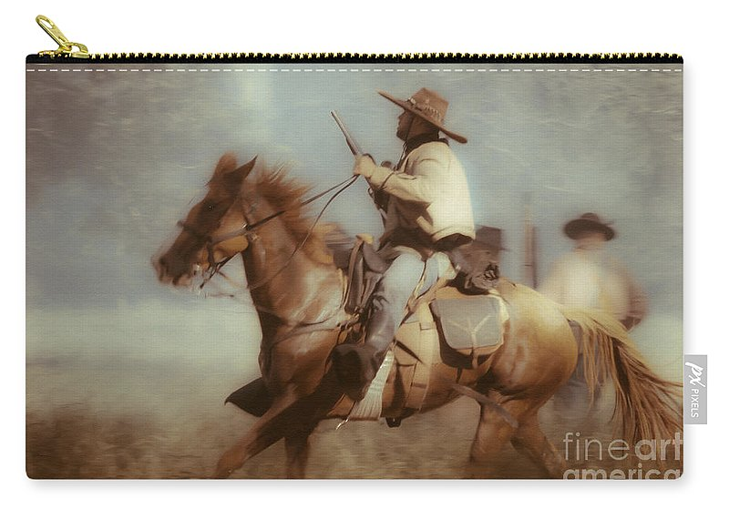 Reenactments Carry-all Pouch featuring the mixed media Blazing by Kim Henderson
