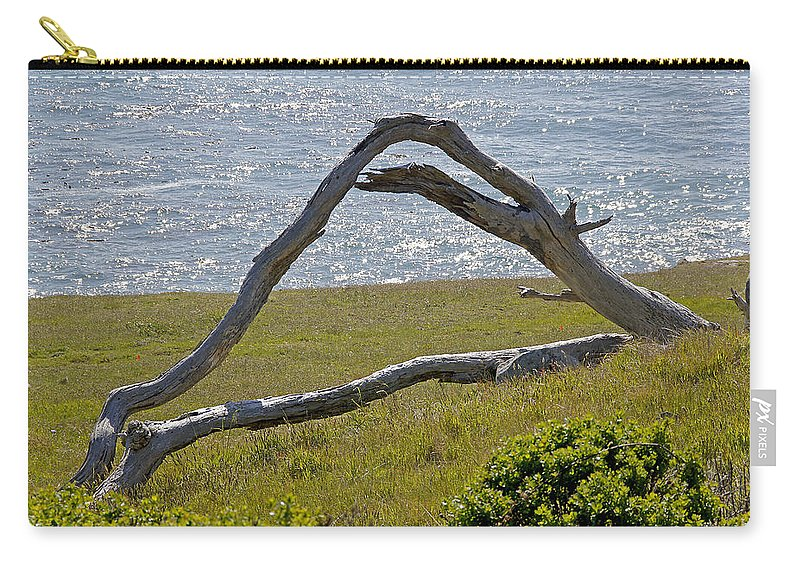Highway 1 Carry-all Pouch featuring the photograph Bleached Wood And Diamond Waves by Mick Anderson