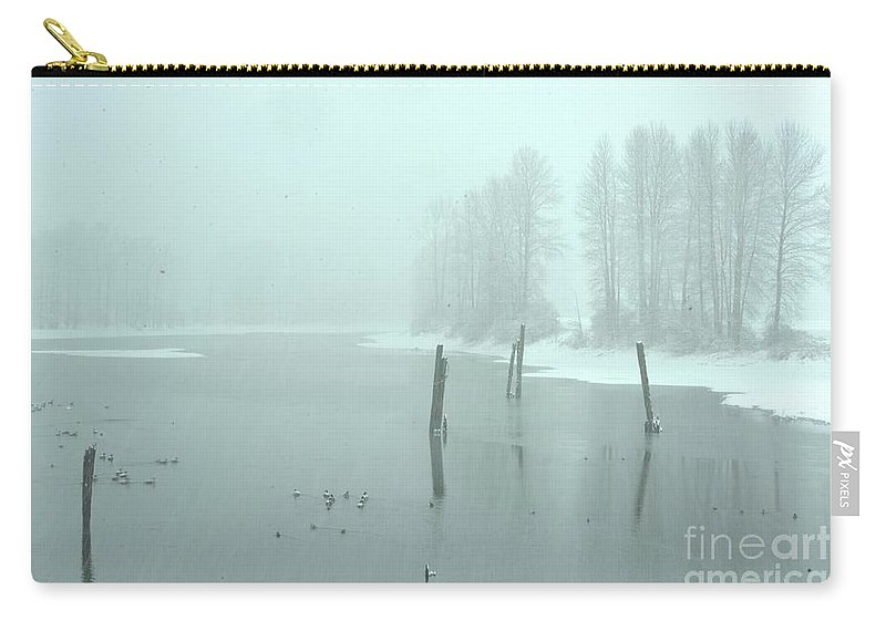 Blizzard Carry-all Pouch featuring the photograph Blizzard At The Nicomen Slough by Rod Wiens