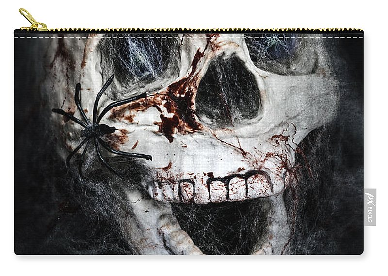 Skull Carry-all Pouch featuring the photograph Bloody Skull by Joana Kruse