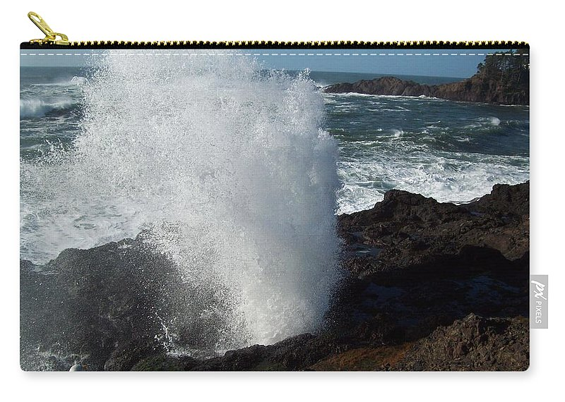 Depoe Bay Carry-all Pouch featuring the photograph Blow Hole by John McManus