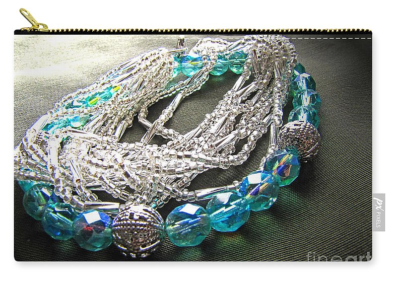 Beads Carry-all Pouch featuring the photograph Blue And Silver Bead Bracelet by Debbie Portwood