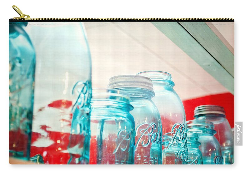 Interior Design Carry-all Pouch featuring the photograph Blue Ball Canning Jars by Paulette B Wright