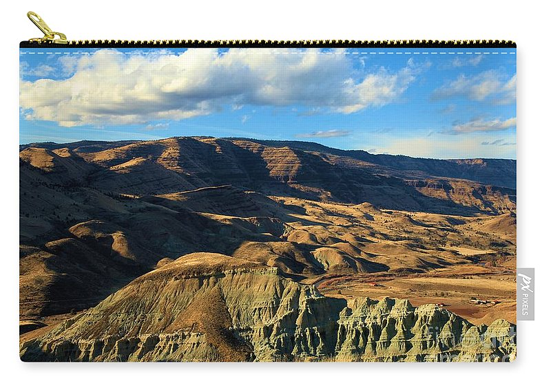 John Day Fossil Beds National Monument Carry-all Pouch featuring the photograph Blue Basin Blue Skies by Adam Jewell
