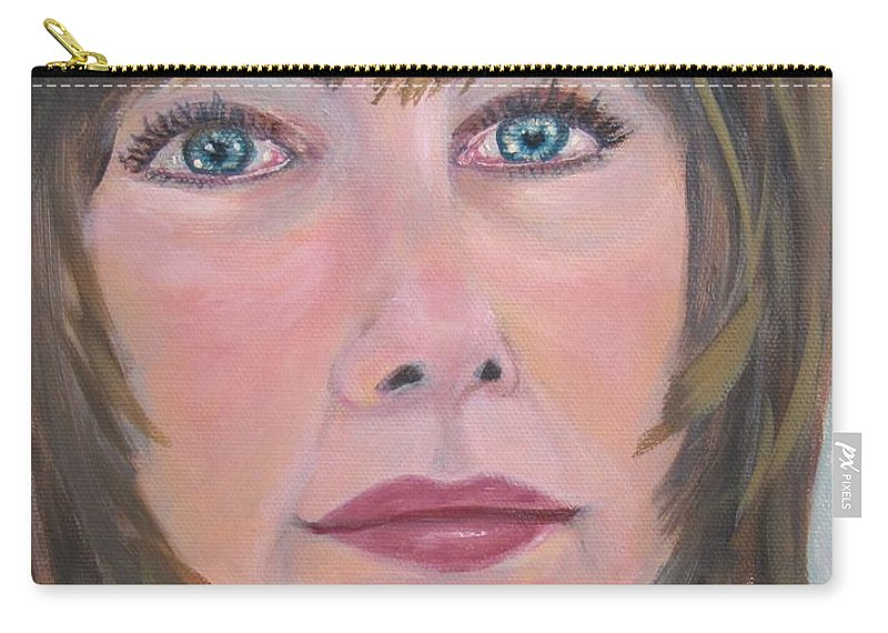 Portrait Carry-all Pouch featuring the painting Blue Eyes by Laurie Morgan