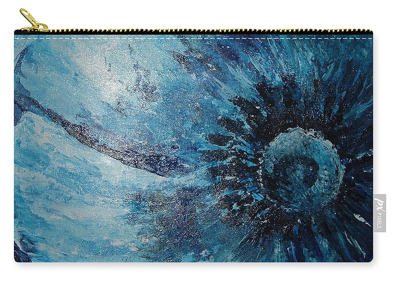 Textured Carry-all Pouch featuring the painting Blue Flower by Julie Cranfill