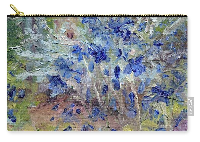 Blue Carry-all Pouch featuring the painting Blue Flowers by Susan Hanna