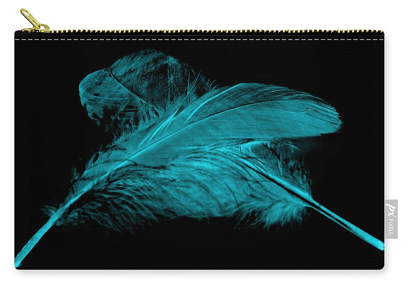 Blue Goose Carry-all Pouch featuring the photograph Blue Ghost On Black by Steve Purnell