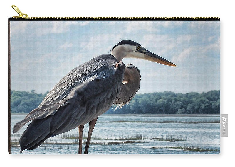 Bird Carry-all Pouch featuring the photograph Blue Heron 1 by Susan Cliett