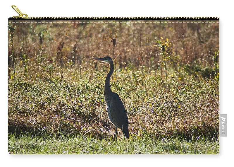 Blue Heron At Valley Forge Carry-all Pouch featuring the photograph Blue Heron At Valley Forge by Bill Cannon