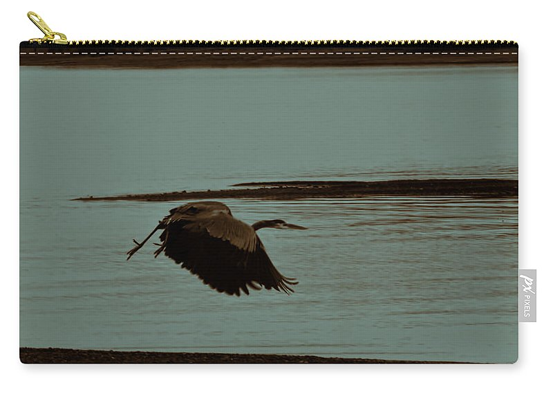 Blue Heron In Flight Carry-all Pouch featuring the photograph Blue Heron In Flight by Douglas Barnard