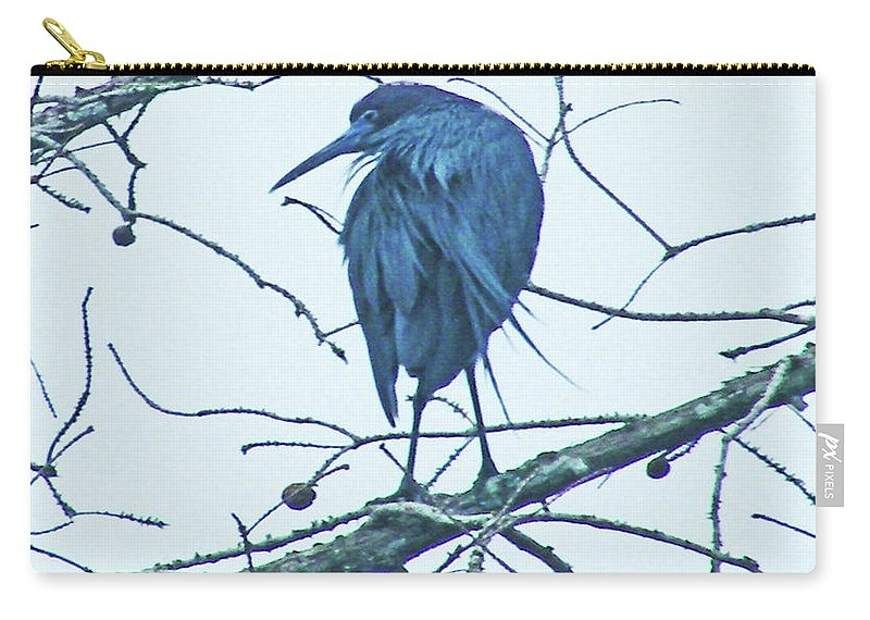 Lake Martin Carry-all Pouch featuring the digital art Blue Heron by Lizi Beard-Ward