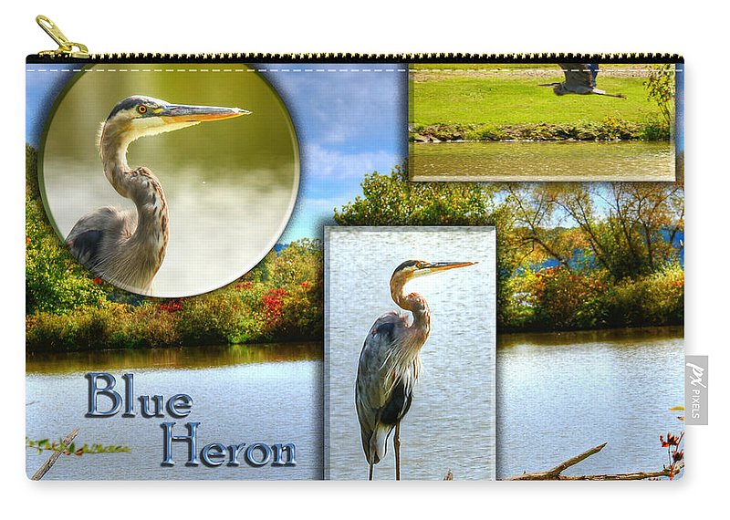 Lake Carry-all Pouch featuring the photograph Blue Heron Pose by Shirley Tinkham