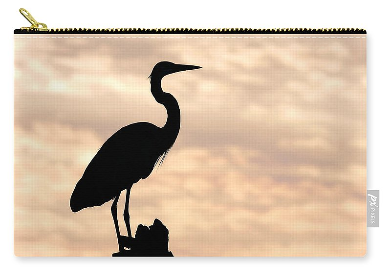 Bird Carry-all Pouch featuring the photograph Blue Heron Silhouette by Rudy Umans