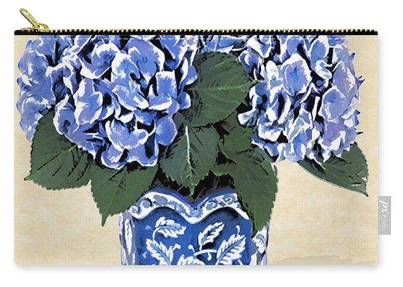 Floral Carry-all Pouch featuring the painting Blue Hydrangeas In A Pot On Parchment Paper by Elaine Plesser