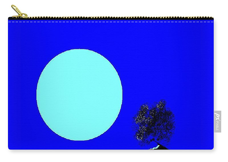Blue Moon And Tree Carry-all Pouch featuring the digital art Blue Moon And Tree by Enriquemontana Garcia