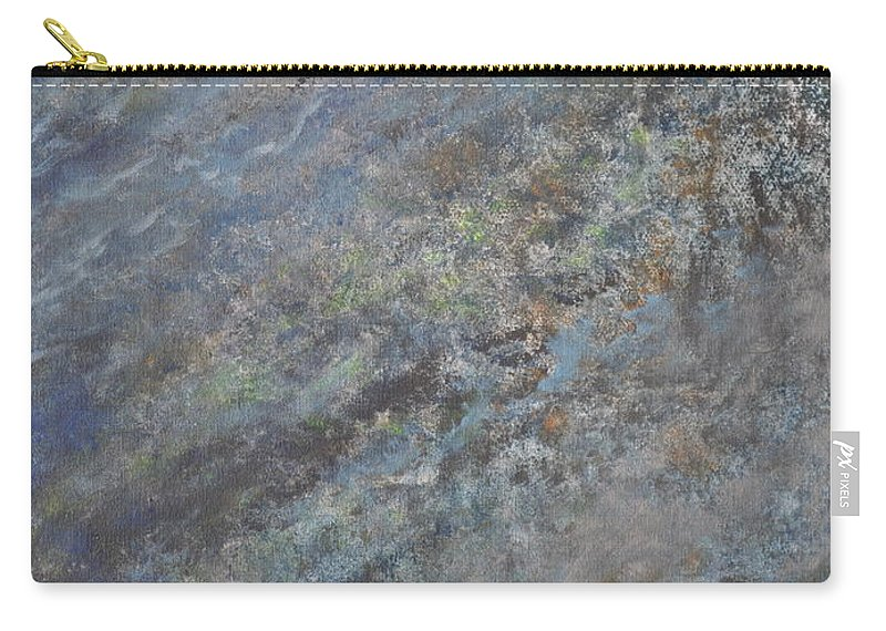 Blue Abstract Carry-all Pouch featuring the painting Blue Nebula #2 by Penny Neimiller