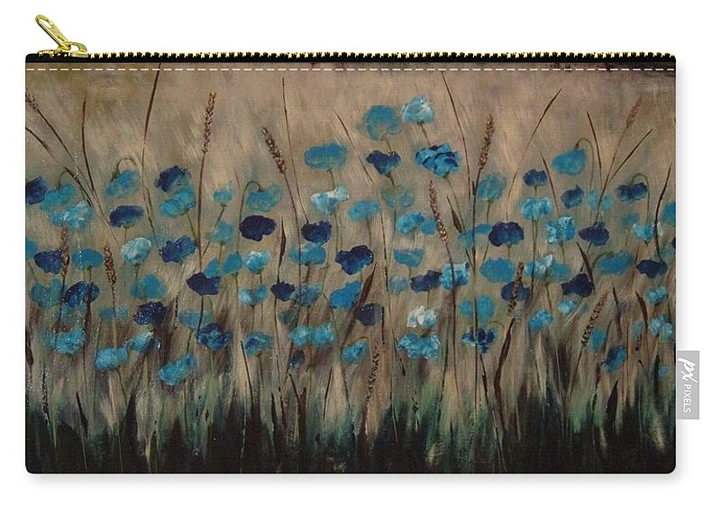 Sepia Tones Carry-all Pouch featuring the painting Blue Poppies And Gold Wheat by Julie Cranfill