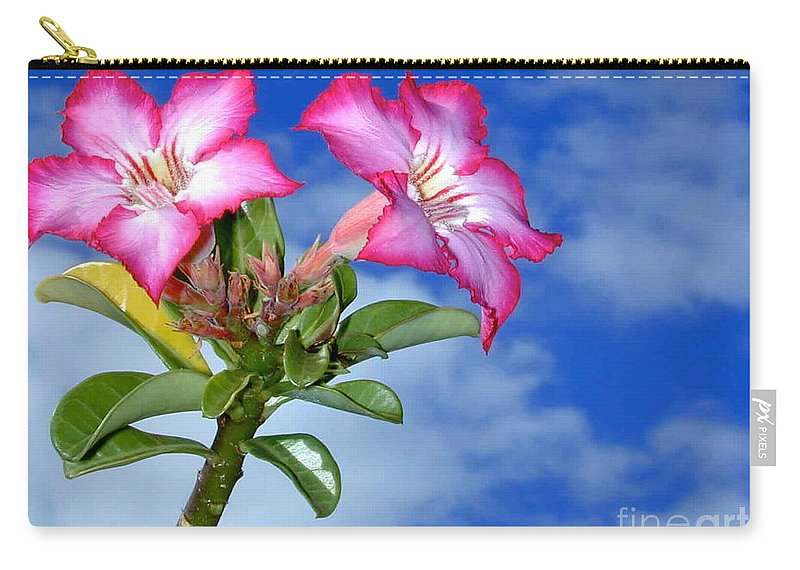 Flw Carry-all Pouch featuring the photograph Blue Sky Pink Flower by Mark Gilman