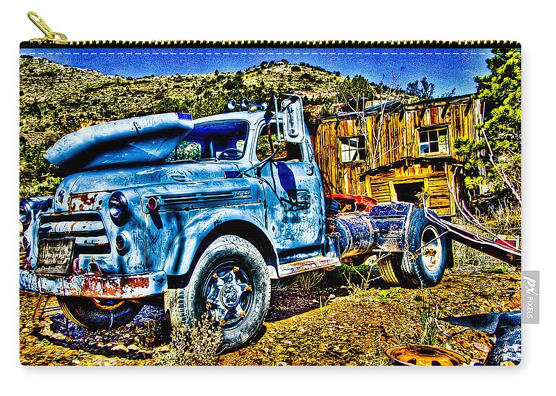 Old Truck Carry-all Pouch featuring the photograph Blue Truck by Jon Berghoff