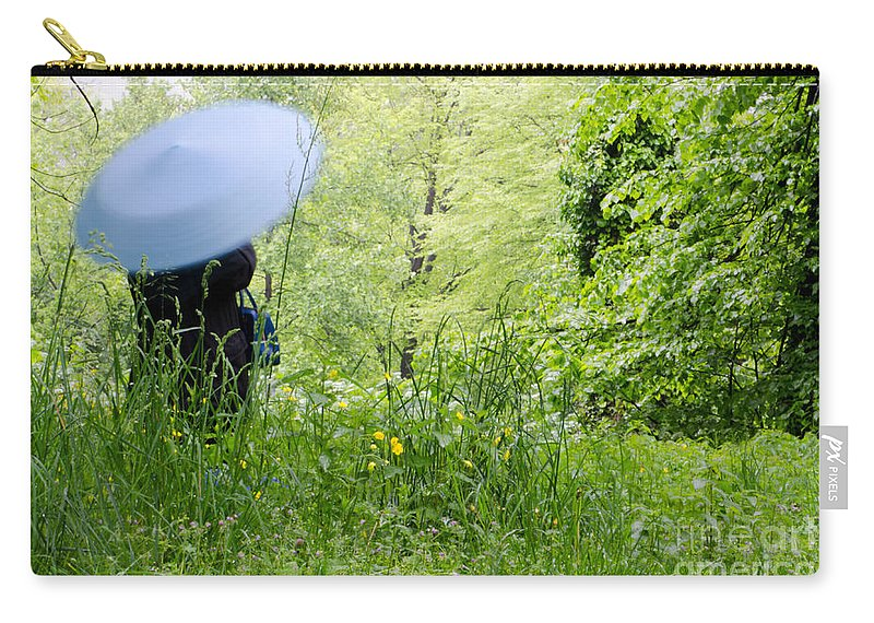 Woman Carry-all Pouch featuring the photograph Blue Umbrella by Mats Silvan