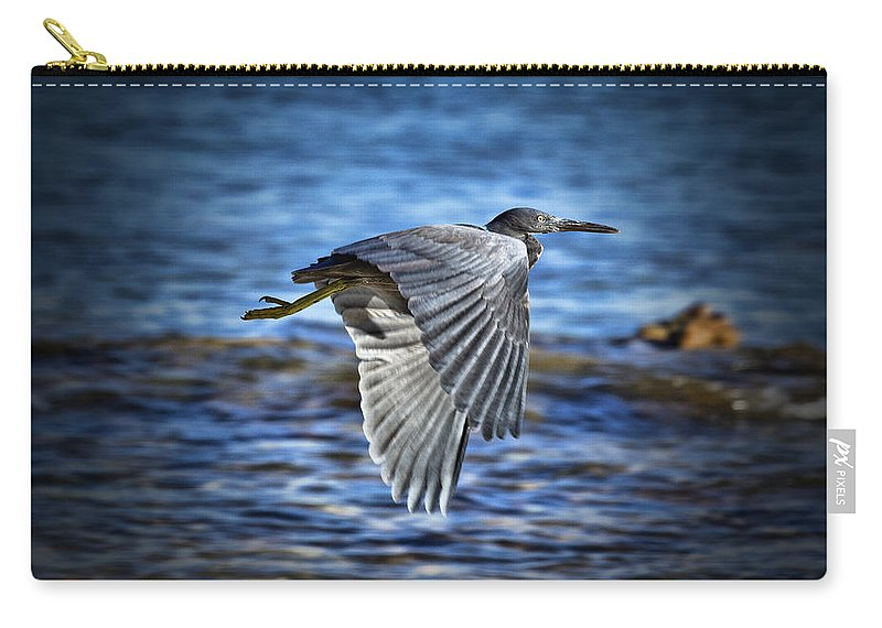 Dark Reef Egret Carry-all Pouch featuring the photograph Blue Waters V2 by Douglas Barnard