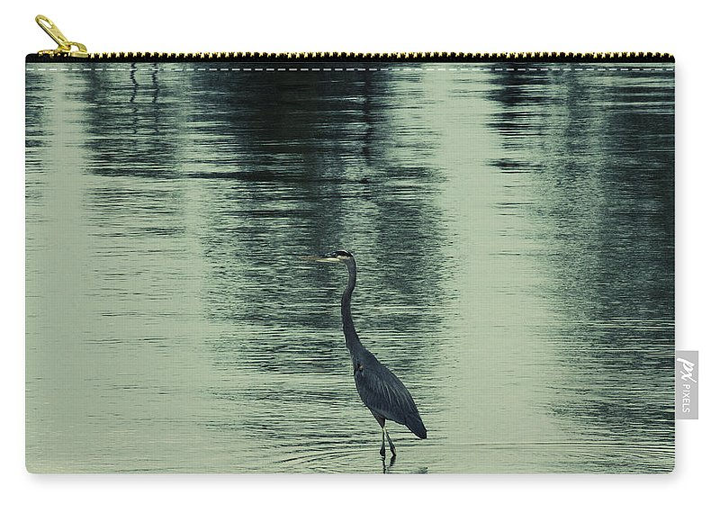 Blue Heron Carry-all Pouch featuring the photograph Bluegreen Lake by Douglas Barnard