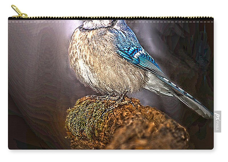 Blue Jay On Moss Snag Carry-all Pouch featuring the photograph Bluejay In Spotlight by Randall Branham