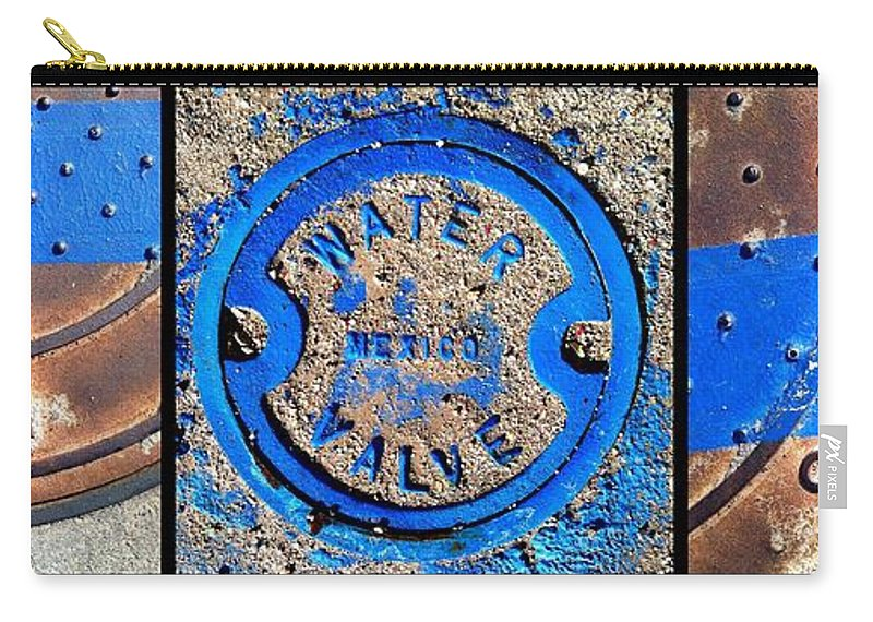Marlene Burns Carry-all Pouch featuring the photograph Bluer Sewer Triptych by Marlene Burns
