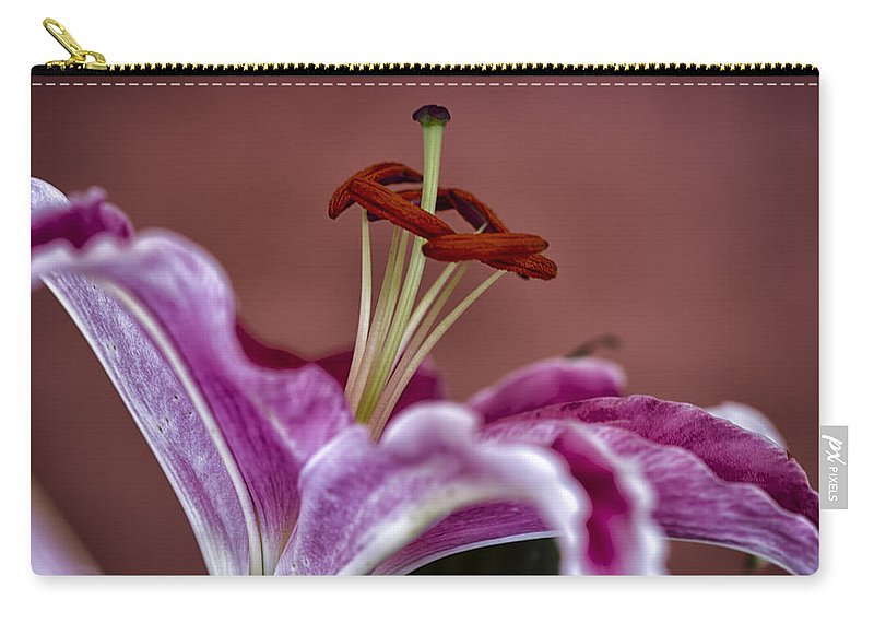 Lily Carry-all Pouch featuring the photograph Blushing Bloom by Linda Tiepelman