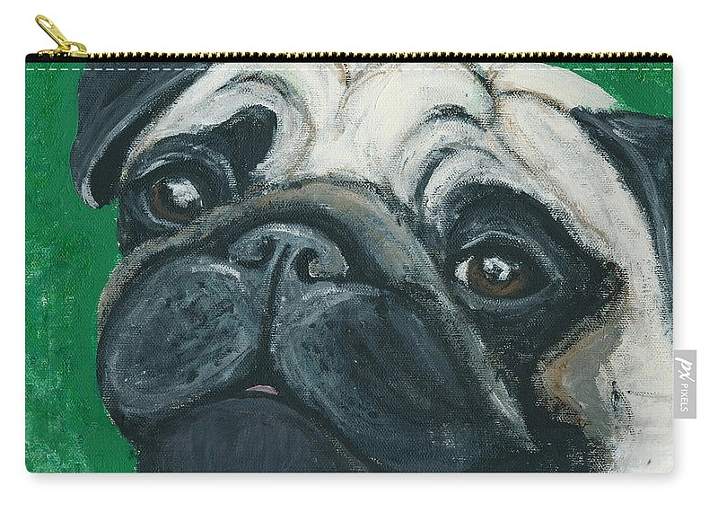 Pug Carry-all Pouch featuring the painting Bo The Pug by Ania M Milo