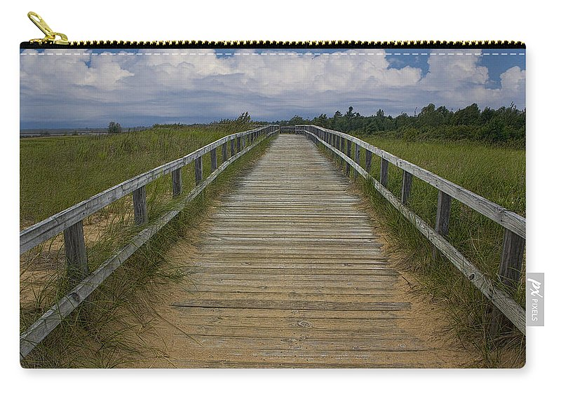 Art Carry-all Pouch featuring the photograph Boardwalk On The Beach On Lake Michigan by Randall Nyhof
