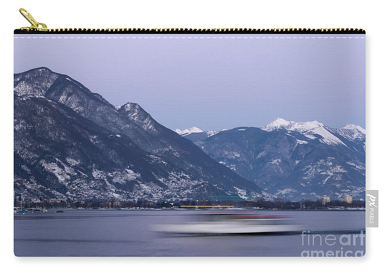 Boat Carry-all Pouch featuring the photograph Boat And Alps by Mats Silvan