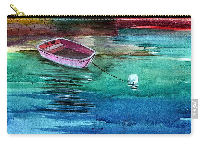 House Carry-all Pouch featuring the painting Boat And The Buoy by Anil Nene