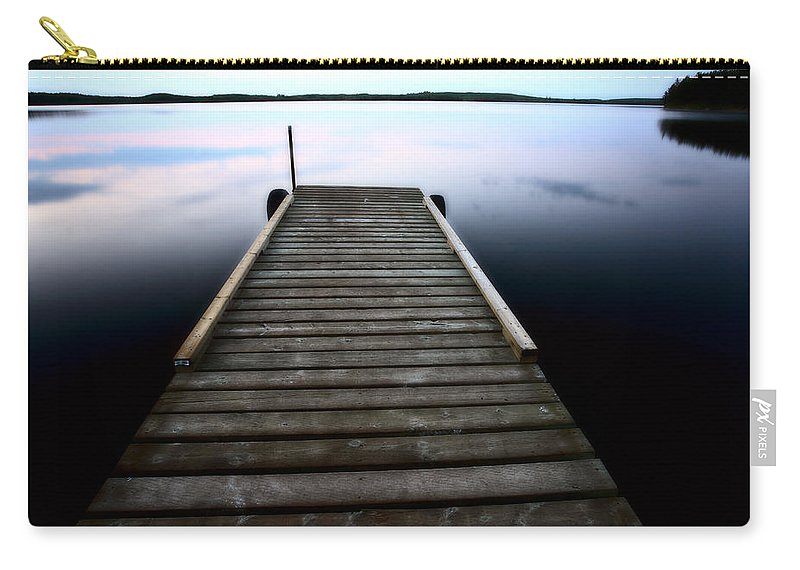 Smallfish Lake Carry-all Pouch featuring the photograph Boat Dock At Smallfish Lake In Scenic Saskatchewan by Mark Duffy