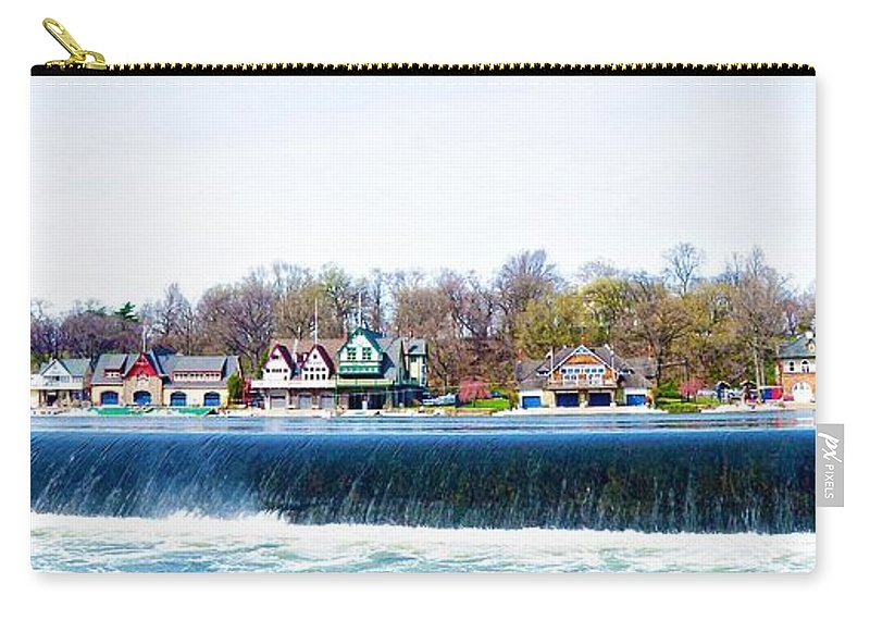 Boathouse Row From Fairmount Dam Carry-all Pouch featuring the photograph Boathouse Row From Fairmount Dam by Bill Cannon