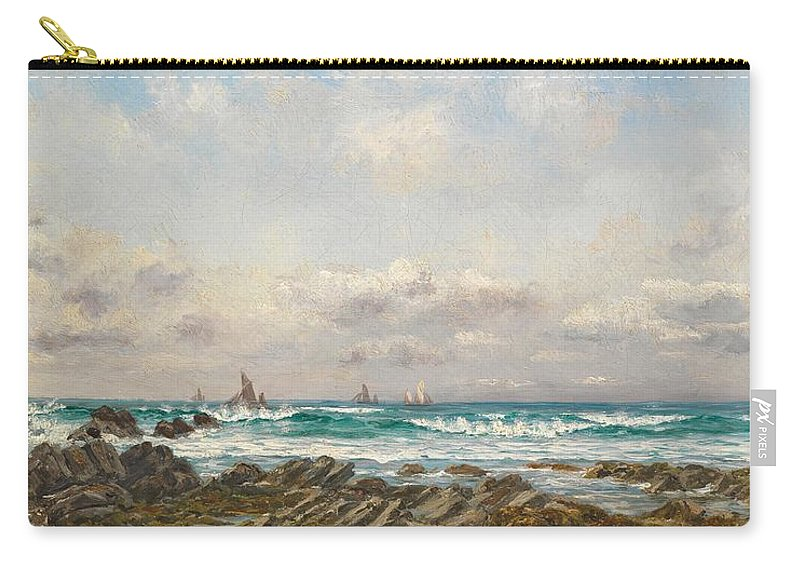 Seascape Carry-all Pouch featuring the painting Boats At Sea by William Lionel Wyllie