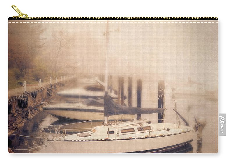 Ship Carry-all Pouch featuring the photograph Boats In Foggy Harbor by Jill Battaglia